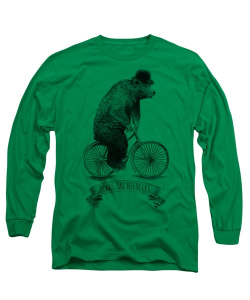 Bears On Bicycles - Lime Long Sleeve T-Shirt