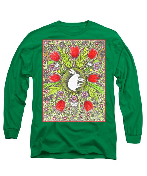 Bunny Nest With Red Flowers And White Butterflies Long Sleeve T-Shirt