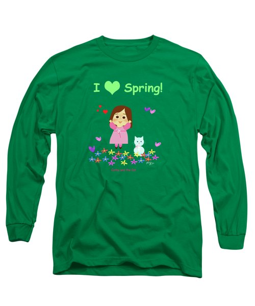 Cathy And The Cat I Love Spring Long Sleeve T-Shirt