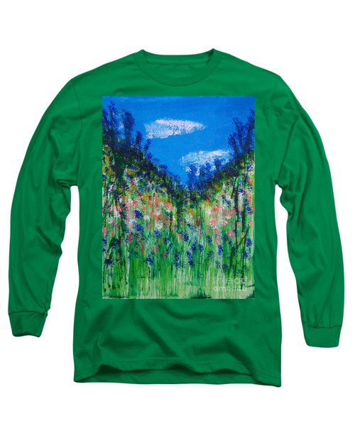 Hillside Wildflowers Mixed Media Painting Long Sleeve T-Shirt