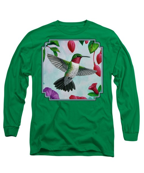 Hummingbird Flying In Spring Flower Garden 1 Long Sleeve T-Shirt