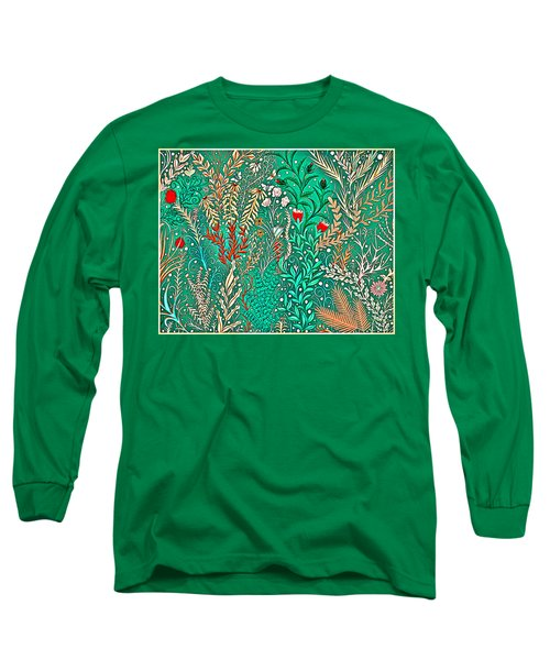 Millefleurs Home Decor Design In Brilliant Green And Light Oranges With Leaves And Flowers Long Sleeve T-Shirt