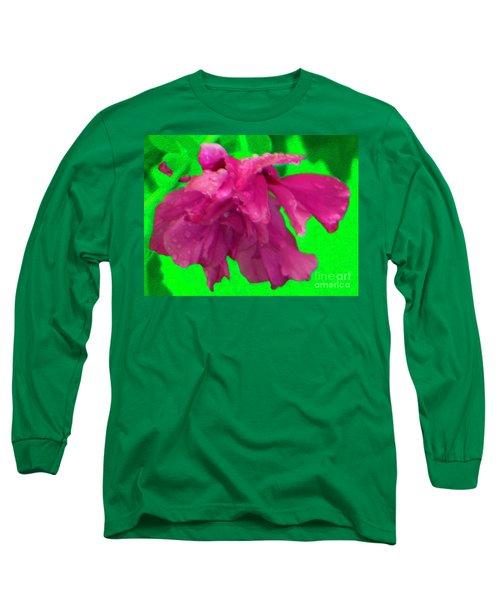 Long Sleeve T-Shirt featuring the photograph Rose Of Sharon Rain Drops by Rockin Docks