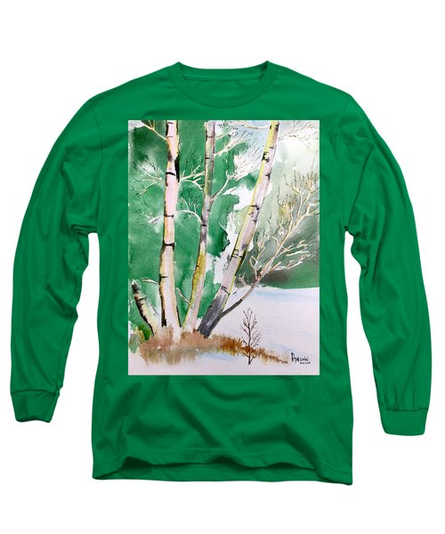 Silver Birch In Snow Long Sleeve T-Shirt