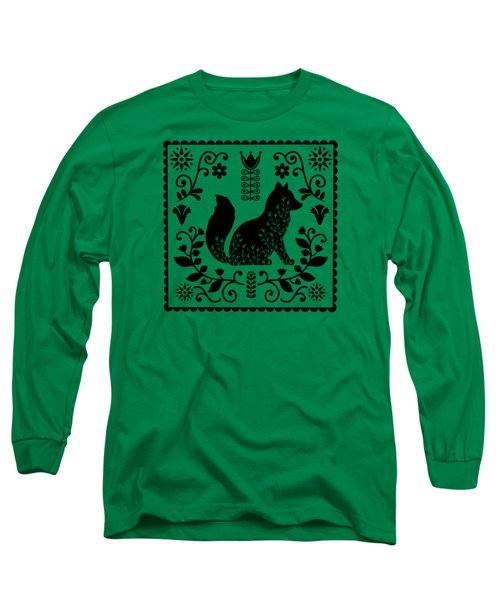 Woodland Folk Black And White Fox Tile Long Sleeve T-Shirt