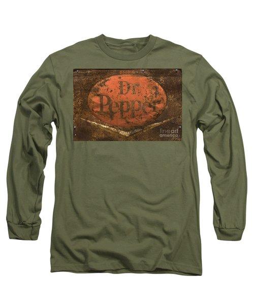 Dr Pepper Vintage Sign Long Sleeve T-Shirt by Bob Christopher