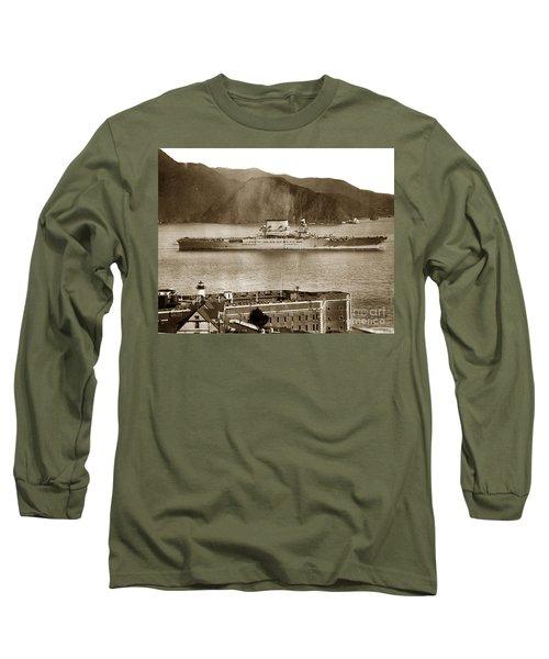 U.s.s. Lexington Cv-2 Fort Point Golden Gate San Francisco Bay California 1928 Long Sleeve T-Shirt by California Views Mr Pat Hathaway Archives