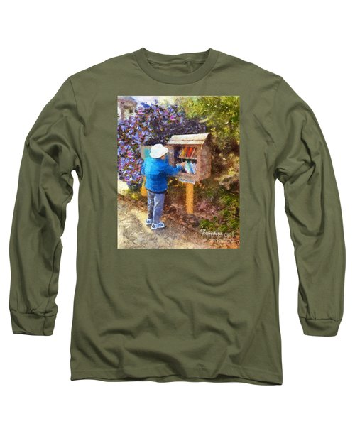 Long Sleeve T-Shirt featuring the painting  Alameda  Little Free Library by Linda Weinstock