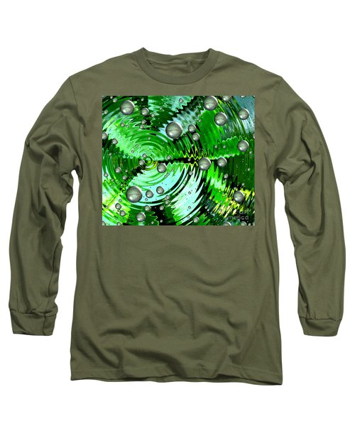 Amazing. Abstract Art. Green Grey  Blue Yellow  Long Sleeve T-Shirt