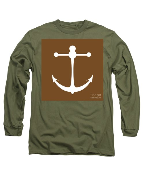 Anchor In Brown And White Long Sleeve T-Shirt