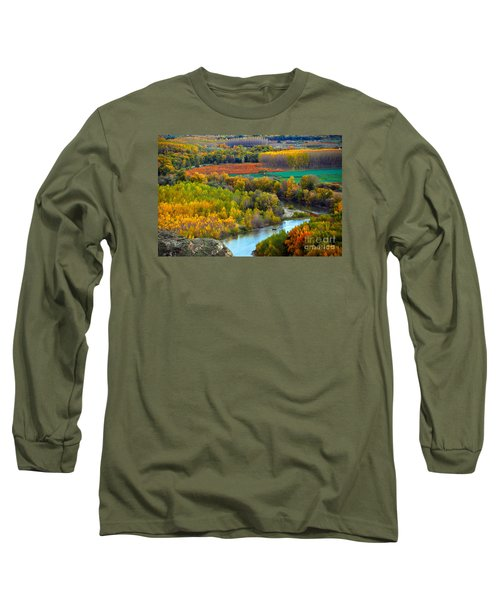 Autumn Colors On The Ebro River Long Sleeve T-Shirt by RicardMN Photography