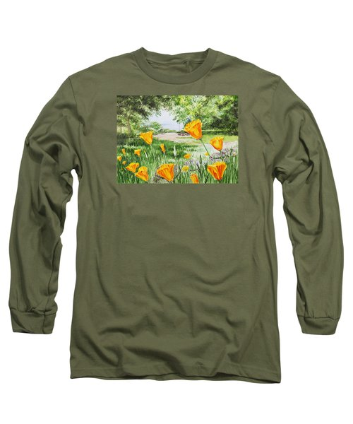 Long Sleeve T-Shirt featuring the painting California Poppies by Irina Sztukowski