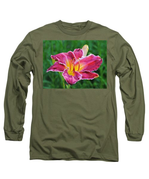 Crimson Day Lily Long Sleeve T-Shirt