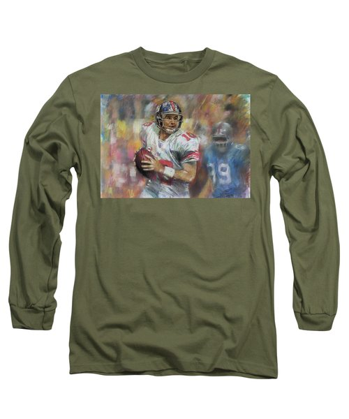 Long Sleeve T-Shirt featuring the drawing Eli Manning Nfl Ny Giants by Viola El