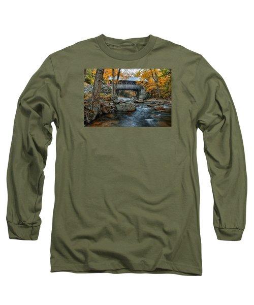 Flume Gorge Covered Bridge Long Sleeve T-Shirt by Jeff Folger