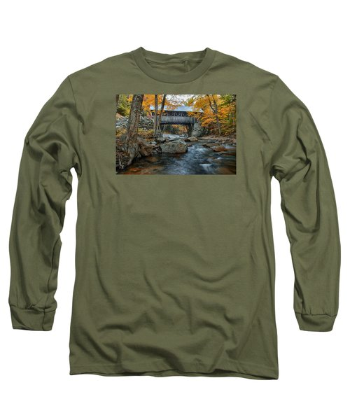 Flume Gorge Covered Bridge Long Sleeve T-Shirt