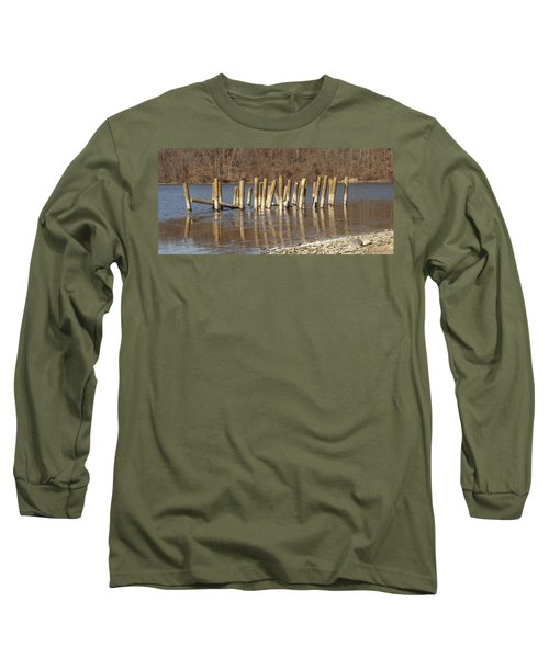Long Sleeve T-Shirt featuring the photograph Frozen Pilings by Michael Porchik