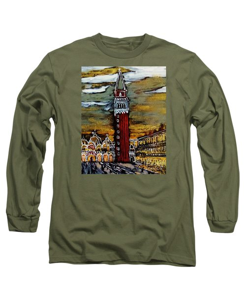 Long Sleeve T-Shirt featuring the painting Golden Venice by Jasna Gopic