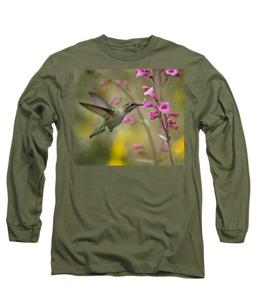 Hummingbird Heaven  Long Sleeve T-Shirt by Saija  Lehtonen