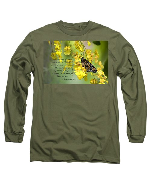 Monarch Butterfly With Scripture Long Sleeve T-Shirt