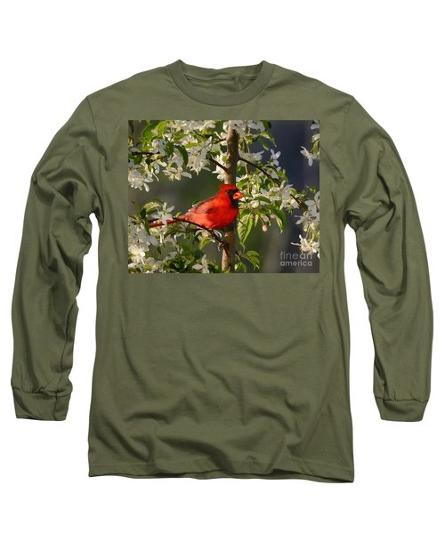 Red Cardinal In Flowers Long Sleeve T-Shirt