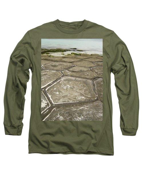 Natural Forming Pentagon Rock Formations Of Kumejima Okinawa Japan Long Sleeve T-Shirt by Jeff at JSJ Photography