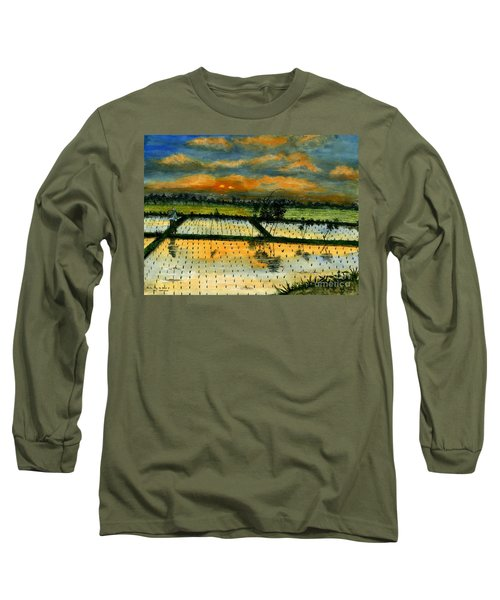 Long Sleeve T-Shirt featuring the painting On The Way To Ubud Iv Bali Indonesia by Melly Terpening