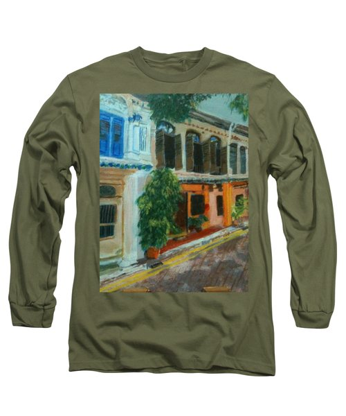 Long Sleeve T-Shirt featuring the painting Peranakan House by Belinda Low