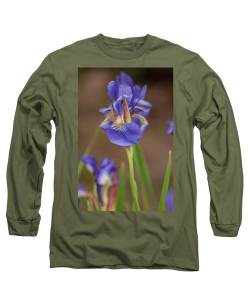 Long Sleeve T-Shirt featuring the photograph Purple Bearded Iris by Brenda Jacobs
