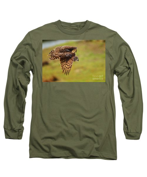 Spotted Eagle Owl In Flight Long Sleeve T-Shirt