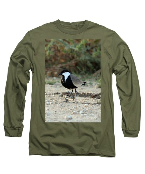 Spur-winged Plover And Chick Long Sleeve T-Shirt