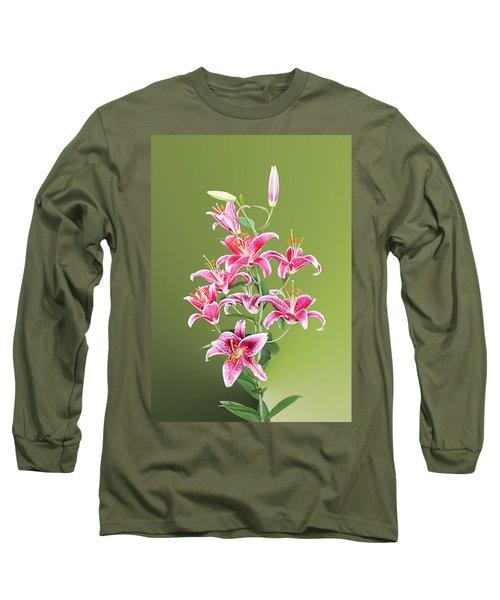 Long Sleeve T-Shirt featuring the photograph Stargazer Lilies by Kristin Elmquist