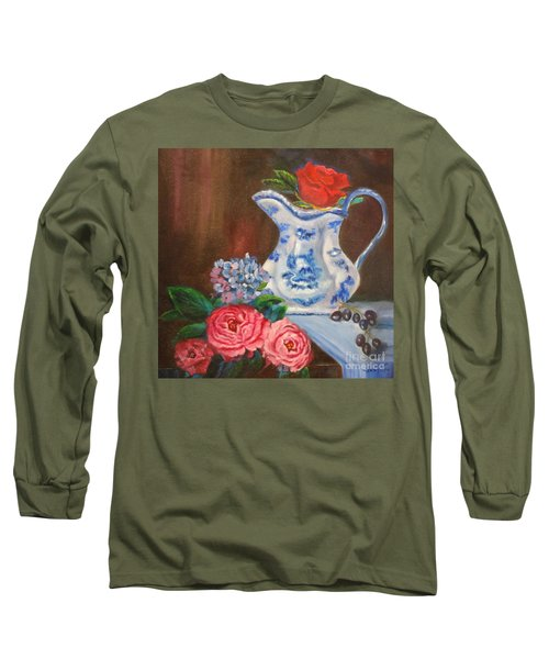 Still Life With Blue And White Pitcher Long Sleeve T-Shirt