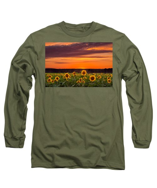 Sunset Over Sunflowers Long Sleeve T-Shirt