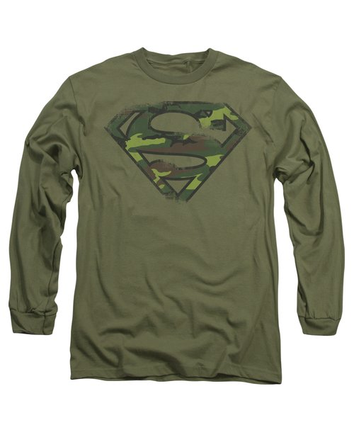 Superman - Distressed Camo Shield Long Sleeve T-Shirt