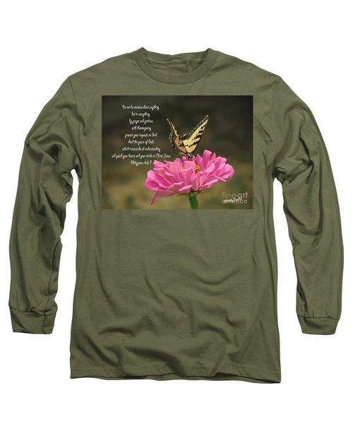 Swallowtail On A Zinnia Long Sleeve T-Shirt