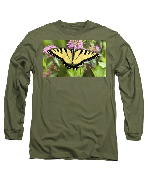 Tiger Swallowtail Butterfly On Milkweed Flowers Long Sleeve T-Shirt
