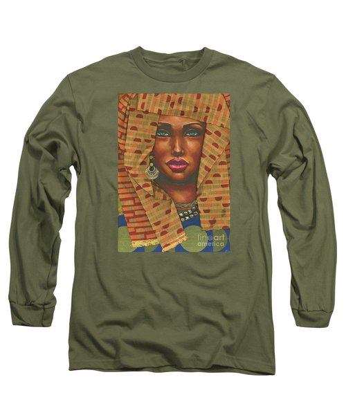 Long Sleeve T-Shirt featuring the painting Headwrap by Alga Washington