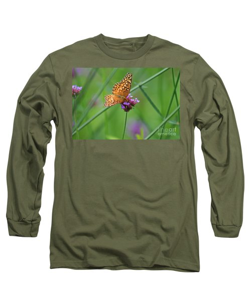 Variegated Fritillary Butterfly In Field Long Sleeve T-Shirt