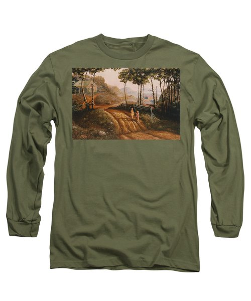 A Country Lane Long Sleeve T-Shirt by Duane R Probus