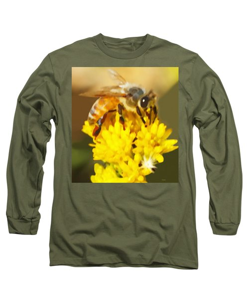 Bee On A Yellow Flower Long Sleeve T-Shirt
