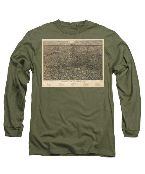 Birdseye Map Of Denver Colorado - 1887 Long Sleeve T-Shirt by Eric Glaser