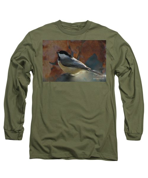 Long Sleeve T-Shirt featuring the photograph Chickadee In Autumn by Janette Boyd
