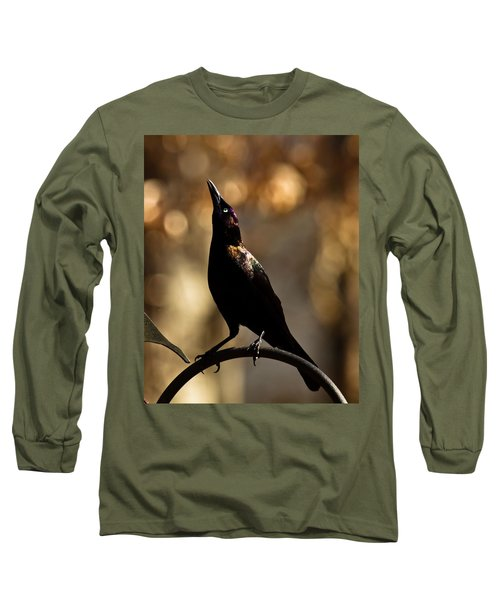 Long Sleeve T-Shirt featuring the photograph Common Grackle by Robert L Jackson
