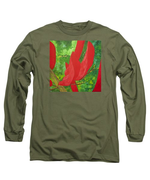 Long Sleeve T-Shirt featuring the painting Coral Bean Tree by Mark Robbins