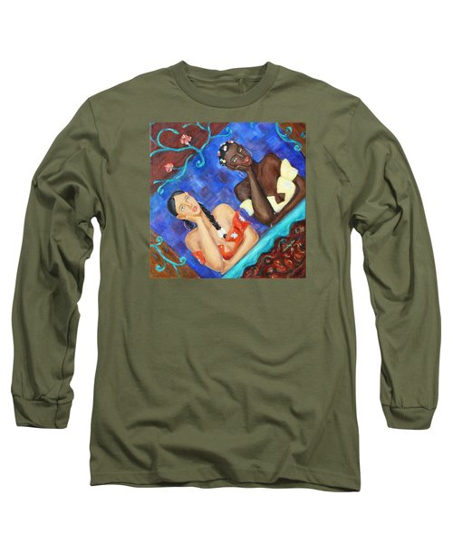 Long Sleeve T-Shirt featuring the painting Dreaming Girls by Xueling Zou