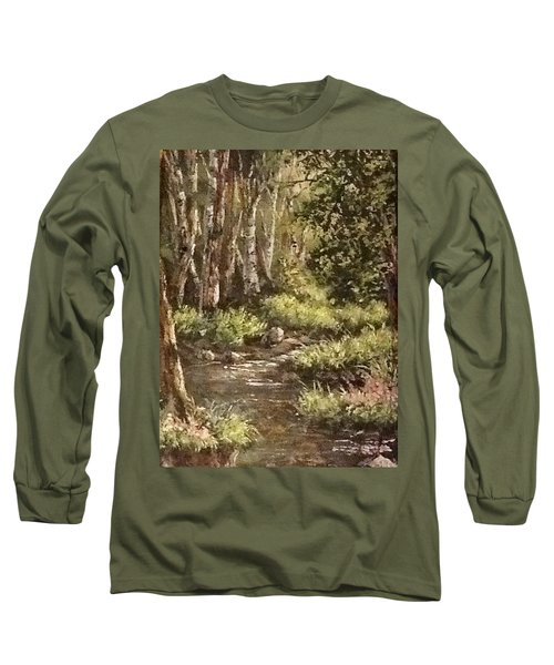 Long Sleeve T-Shirt featuring the painting Forest Stream by Megan Walsh