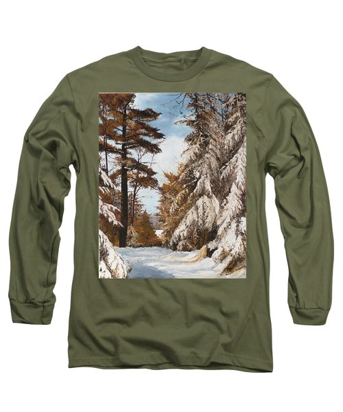 Long Sleeve T-Shirt featuring the painting Holland Lake Lodge Road - Montana by Mary Ellen Anderson