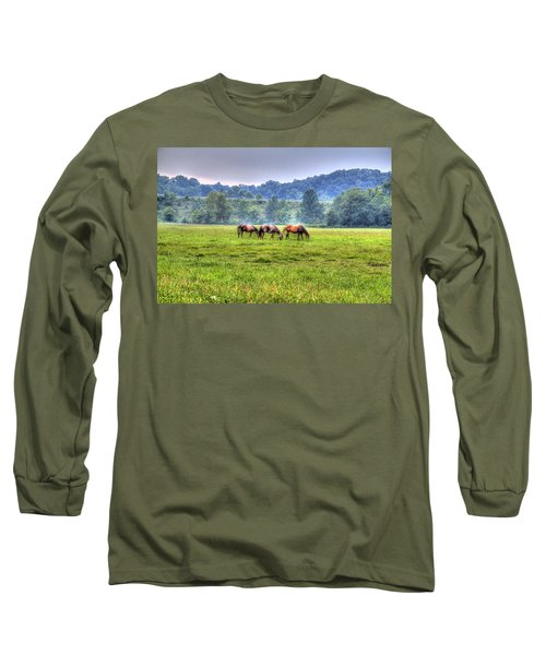 Horses In A Field Long Sleeve T-Shirt