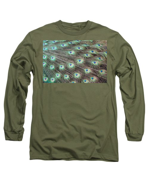 Long Sleeve T-Shirt featuring the photograph Peacock Feather Fiesta  by Diane Alexander